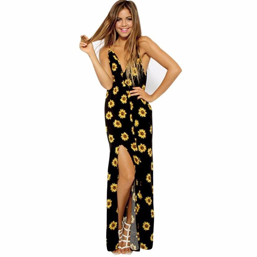ed5d4a9f608a Encontrar Más Vestidos Información acerca de Girasol impreso vestido ...