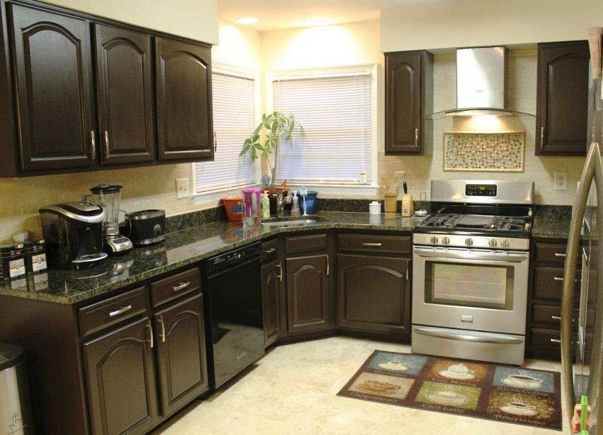 Love These Refurbished Espresso Cabinets With The Contrasting Walls And Ceiling Som Repainting Kitchen Cabinets New Kitchen Cabinets Espresso Kitchen Cabinets