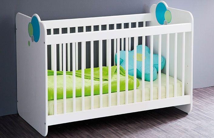 Cuna bebe blanca con detalle globos en azul y verde   Dormitorios y ...