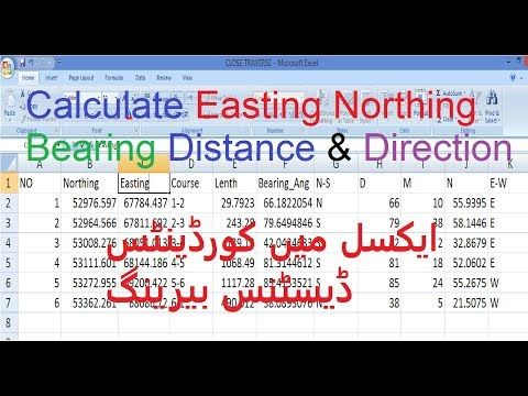 In EXCEL calculate of Easting Northing Bearing Minutes