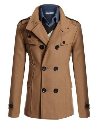 b2d29e33 nice Mens Wool Slim Double Breasted Half Trench Coat - For Sale ...