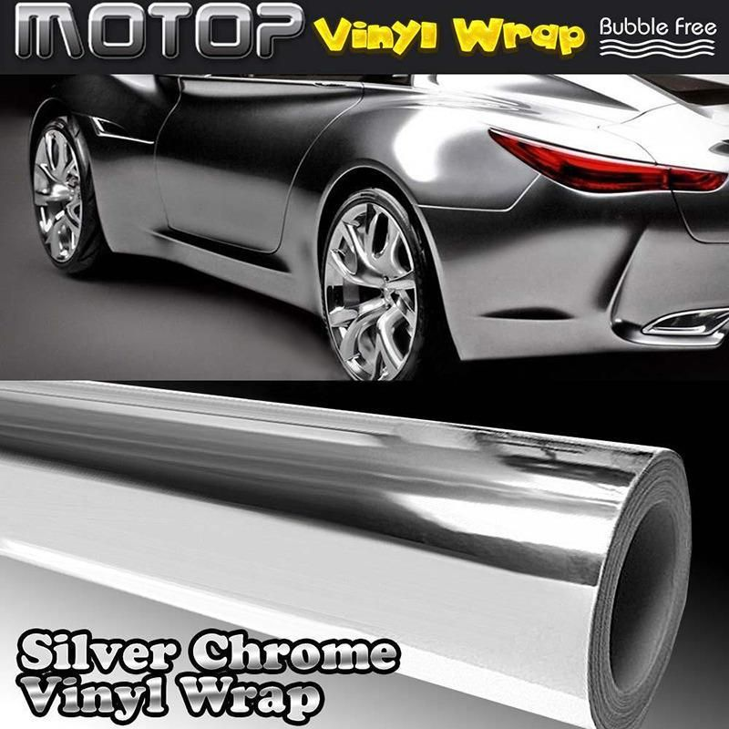 High Quality 30x152cm 12x60 Inch Diy Car Silver Chrome 3d Vinyl Wrap Film Sticker Decal For Vehicle Auto Motorcycle Stic Mirror Vinyl Vinyl Wrap Car Vinyl Wrap
