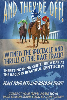 Kentucky Horse Racing Vintage Sign Lantern Press Poster I LOVE