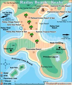 Railay Beach Map Krabi Link Explains How To Get Around Things Do And Hotels Etc