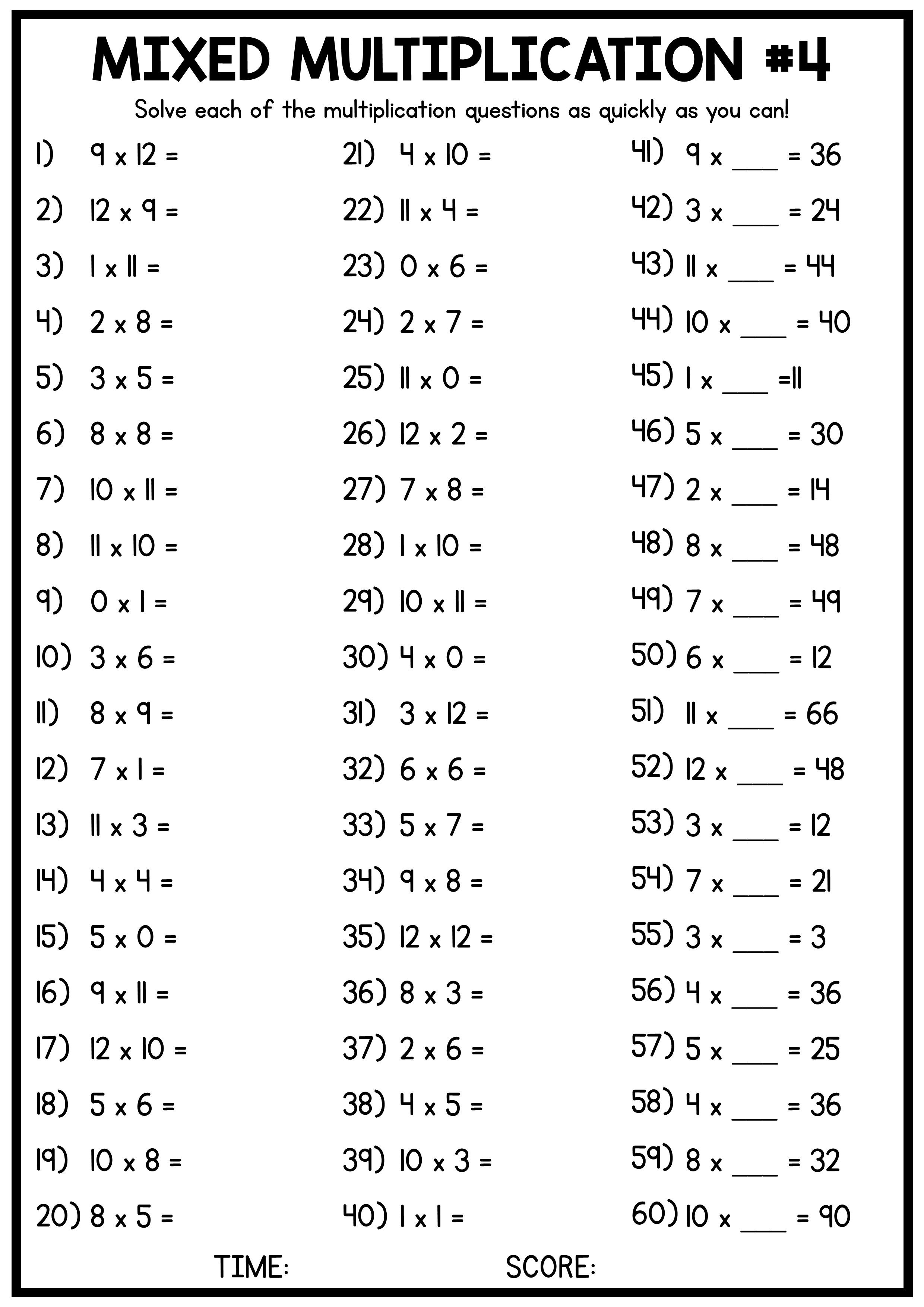 Mixed Multiplication Times Table Worksheets 4 Free Worksheets Multiplication Worksheets Math Multiplication Worksheets Mental Maths Worksheets