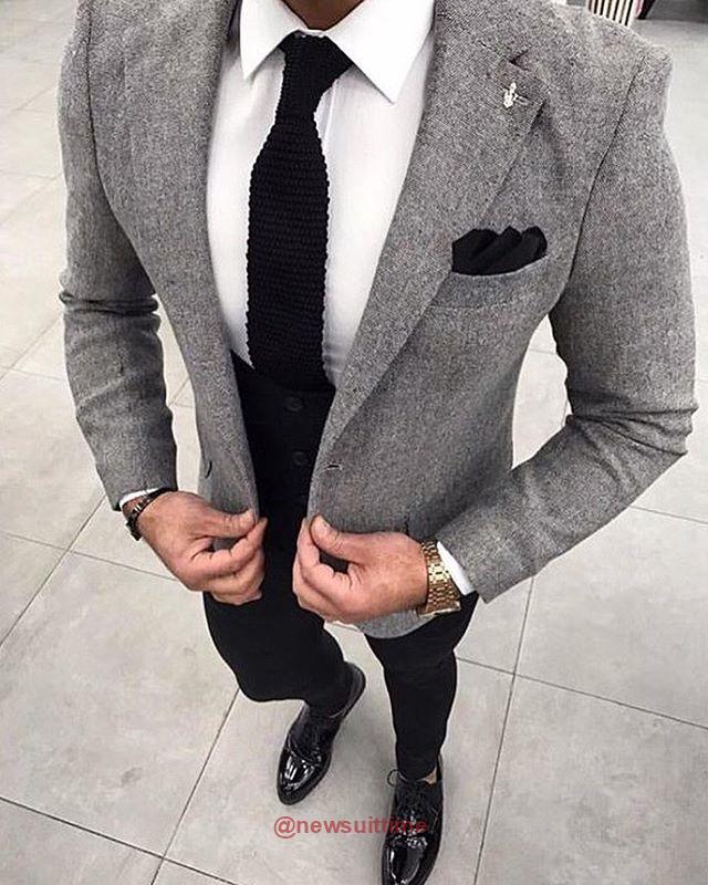 34c9f06754e1 Grey Blazer Black Pants, Grey Blazer Mens, Black Suit Men, Chinos And Blazer