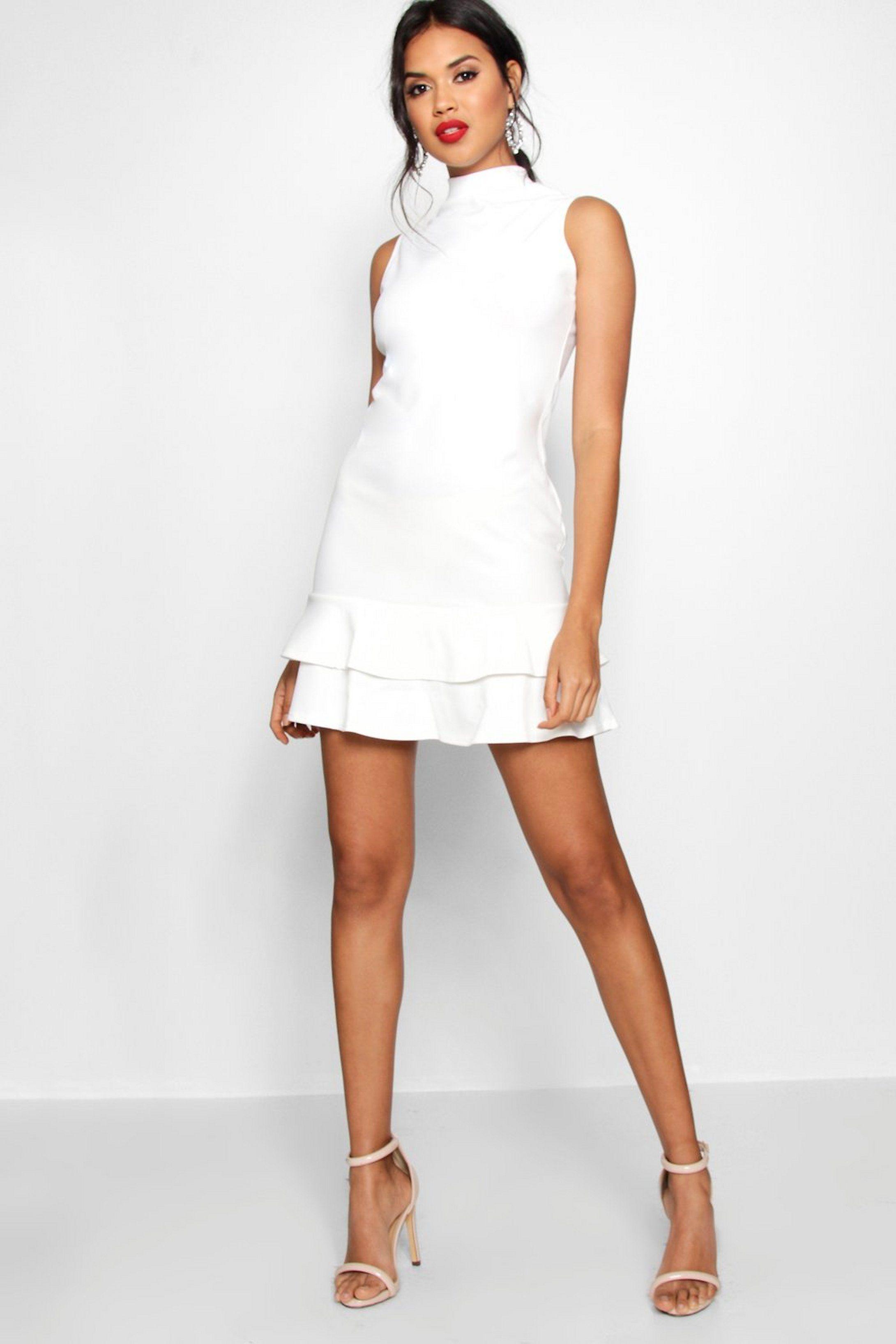 sleeveless ruffle hem bodycon dress | boohoo | bodycon dress