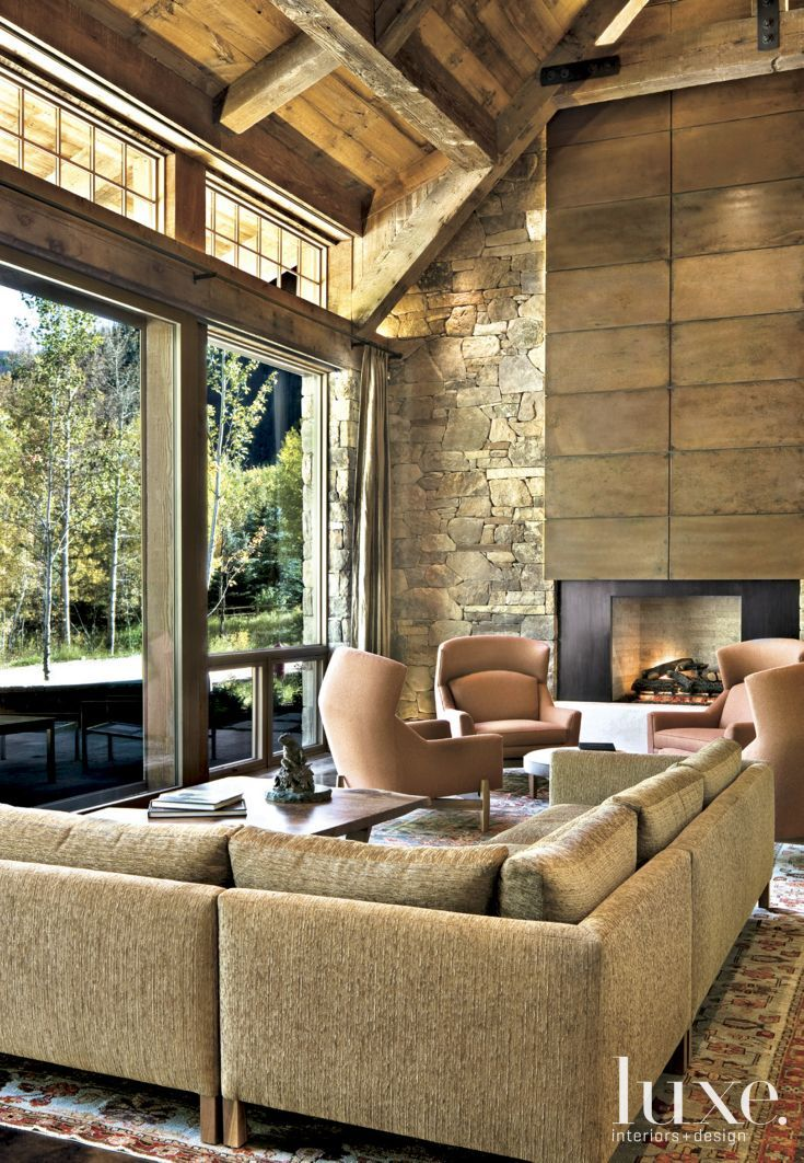 Stone Walls In Neutral Mountain Great Room Great Rooms Home Interior Design