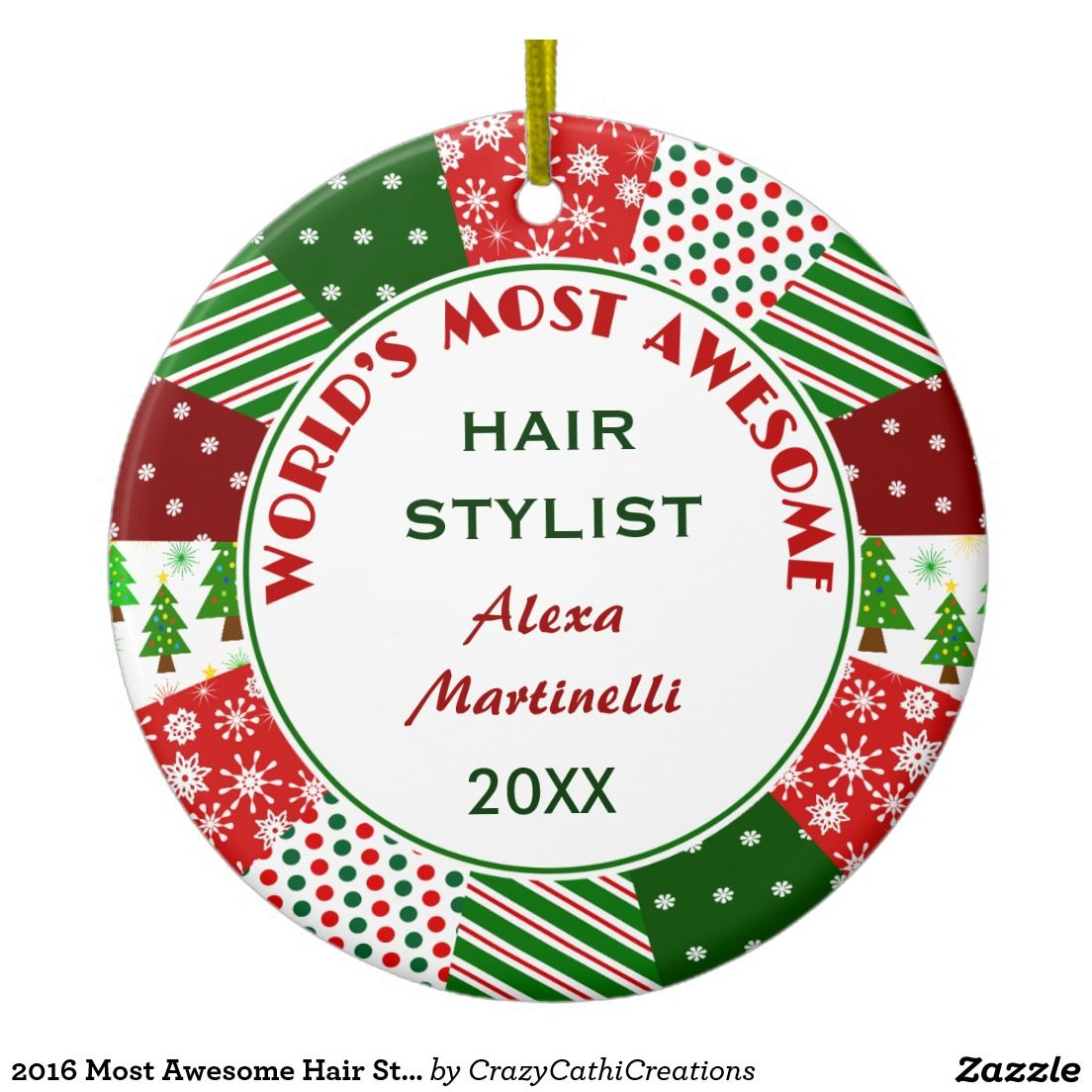 Hair stylist christmas ornaments - 2016 Most Awesome Hair Stylist Or Any Person Ceramic Ornament