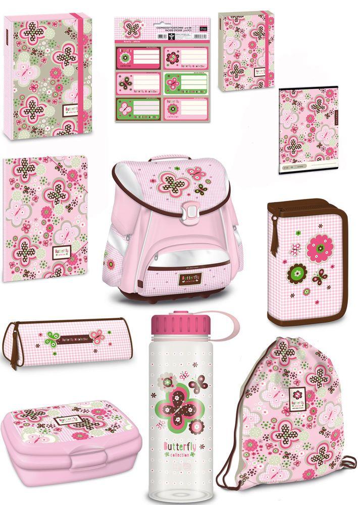 ebf7a060c1f19 Exclusiv 11tlg. Schmetterling Schulranzen Set Kinder Schulranzen  Schulrucksack in Büro   Schreibwaren