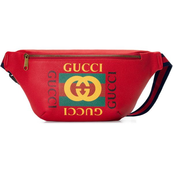 c2b114b4f8ee Gucci Print Leather Belt Bag ($1,290) ❤ liked on Polyvore featuring bags,  accessories