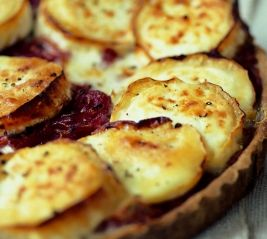 rose Elliot's Goats' Cheese and Red Onion Tart