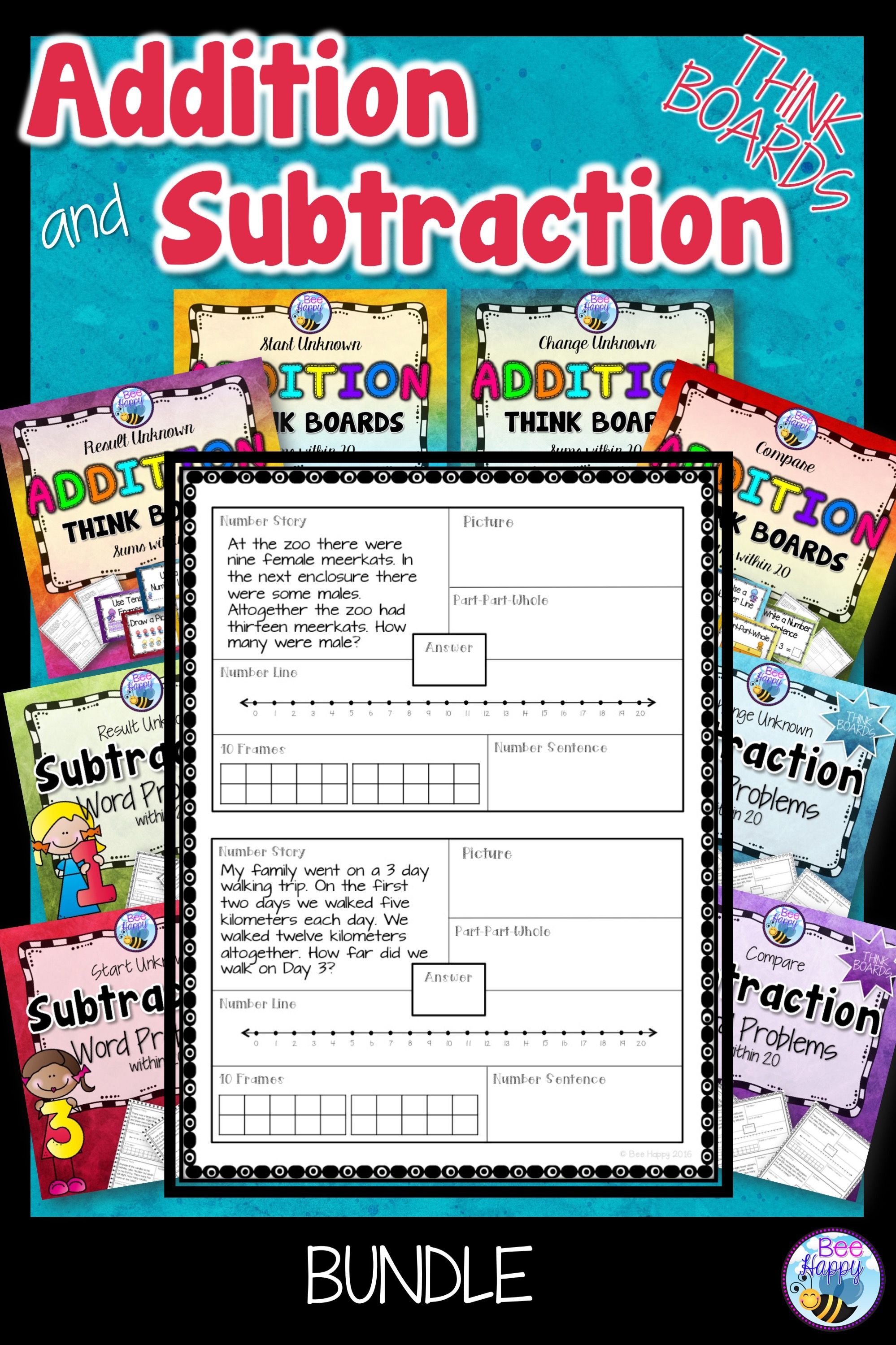 Addition And Subtraction Word Problems Sums Within 20