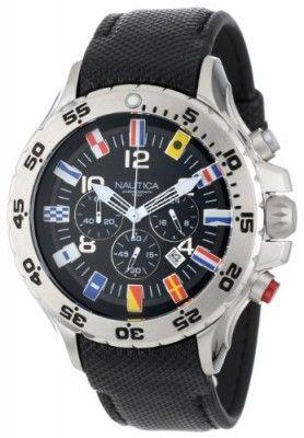 2fb8e426ba6 Relógio Nautica Men s N16553G NST Chronograph Flag Black Dial Watch  Relogio   Nautica