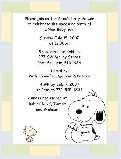 Baby Shower Invitation Snoopy