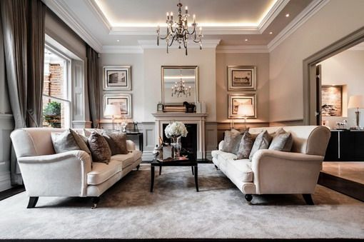 Traditional Living Room With Wall Mirror Designs Luxury Living