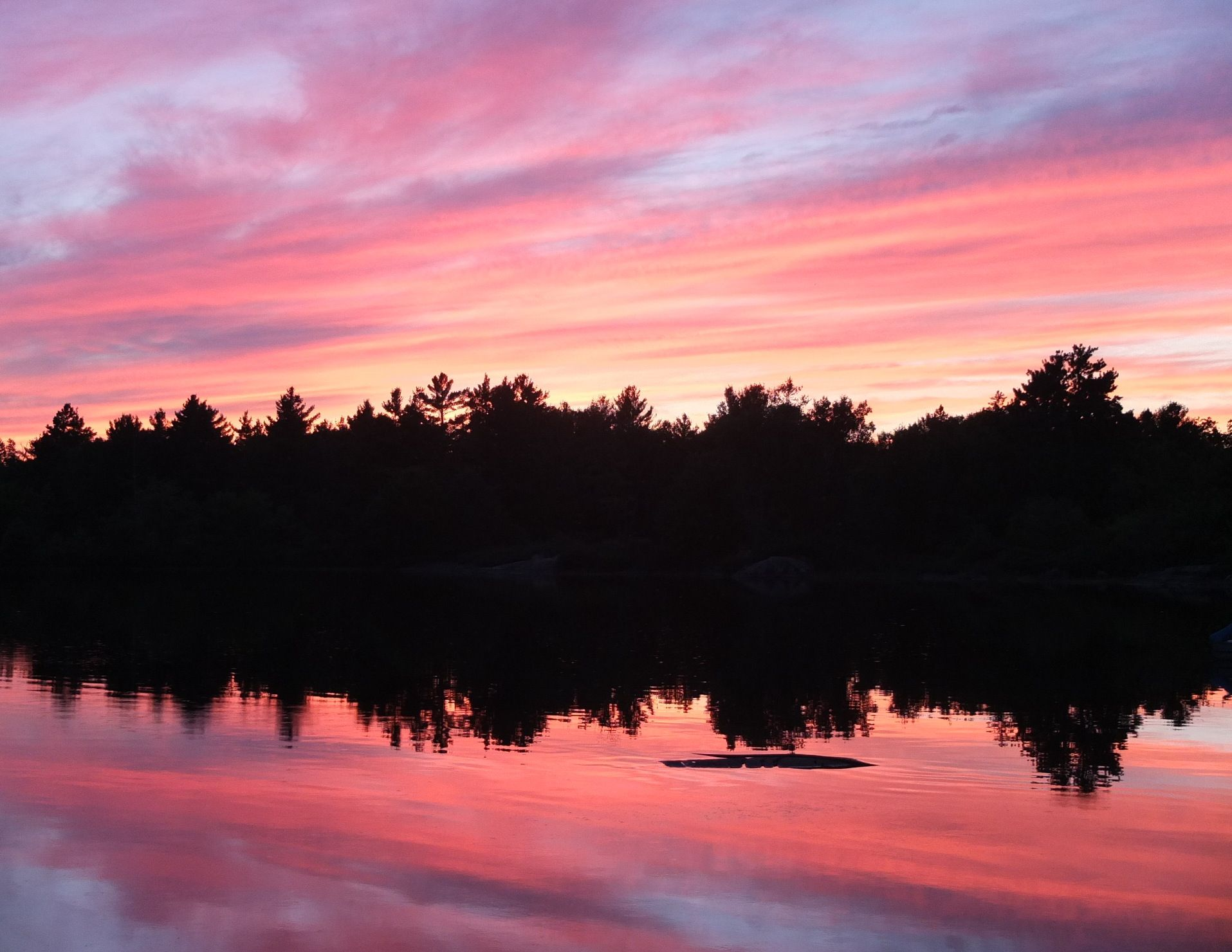 A colourful sunset in Ontario cottage country.  It was beautiful end to a beautiful day.