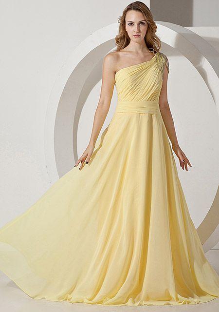 Material de chiffon Decoração do ombro diamantes brilhantes Elegante Vestido de Noite  €79.99