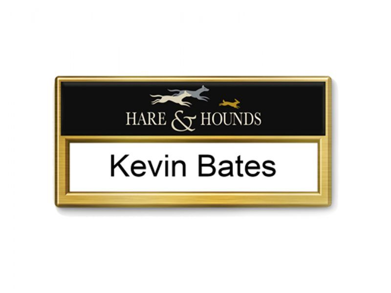 Reusable old gold | Re-usable Name Badges | Name badges