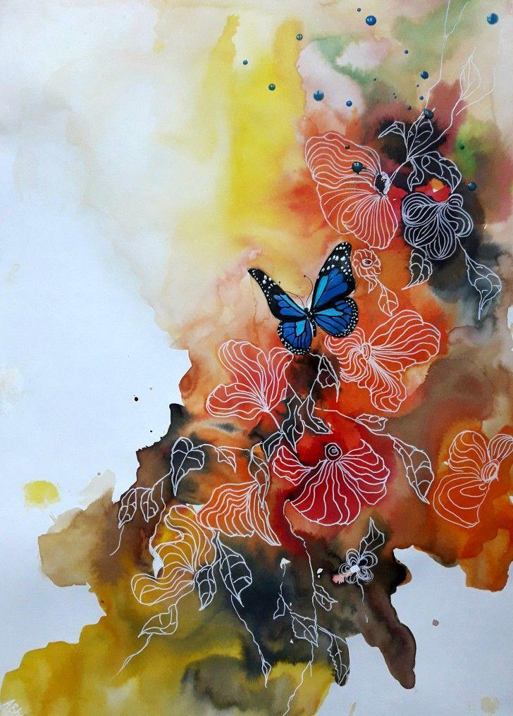 Encres Papillon Bleu Dans Les Fleurs 30x42cm Format A3 Arbres En