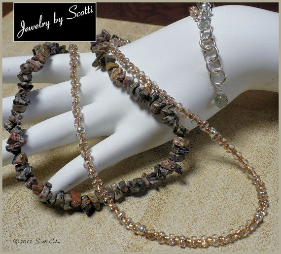 Leopard Jasper Honey Beige 2 Strand Necklace by JewelryByScotti, $30.00