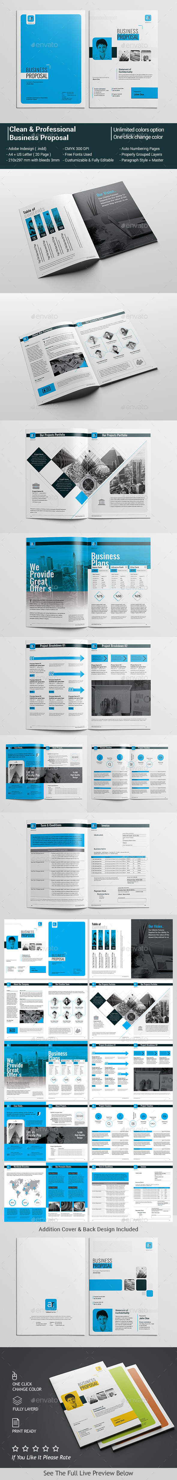 clean professional business proposal template indesign indd design download http. Black Bedroom Furniture Sets. Home Design Ideas
