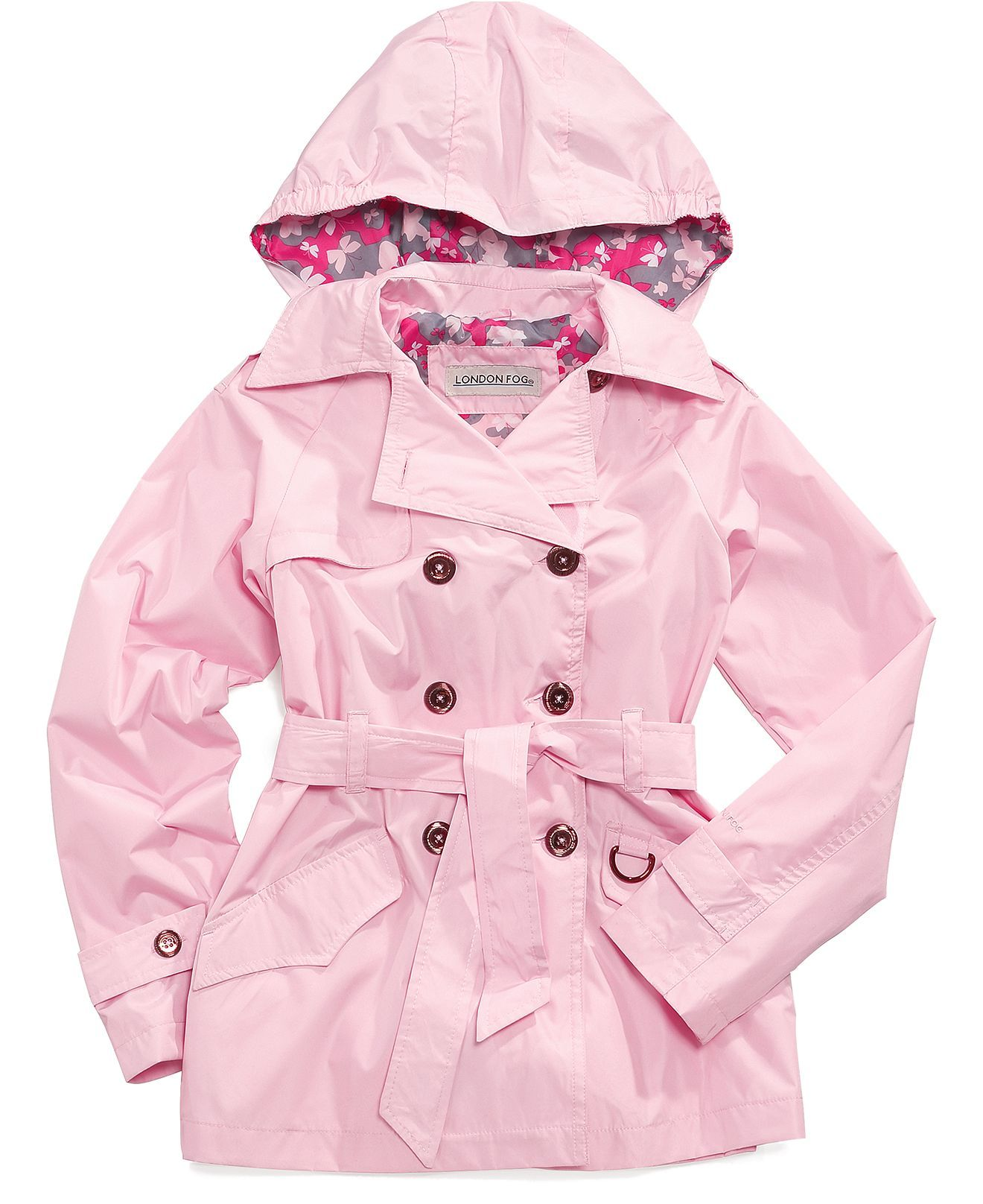 London Fog Kids Jacket Girls Belted Trench Coat Kids Macy s