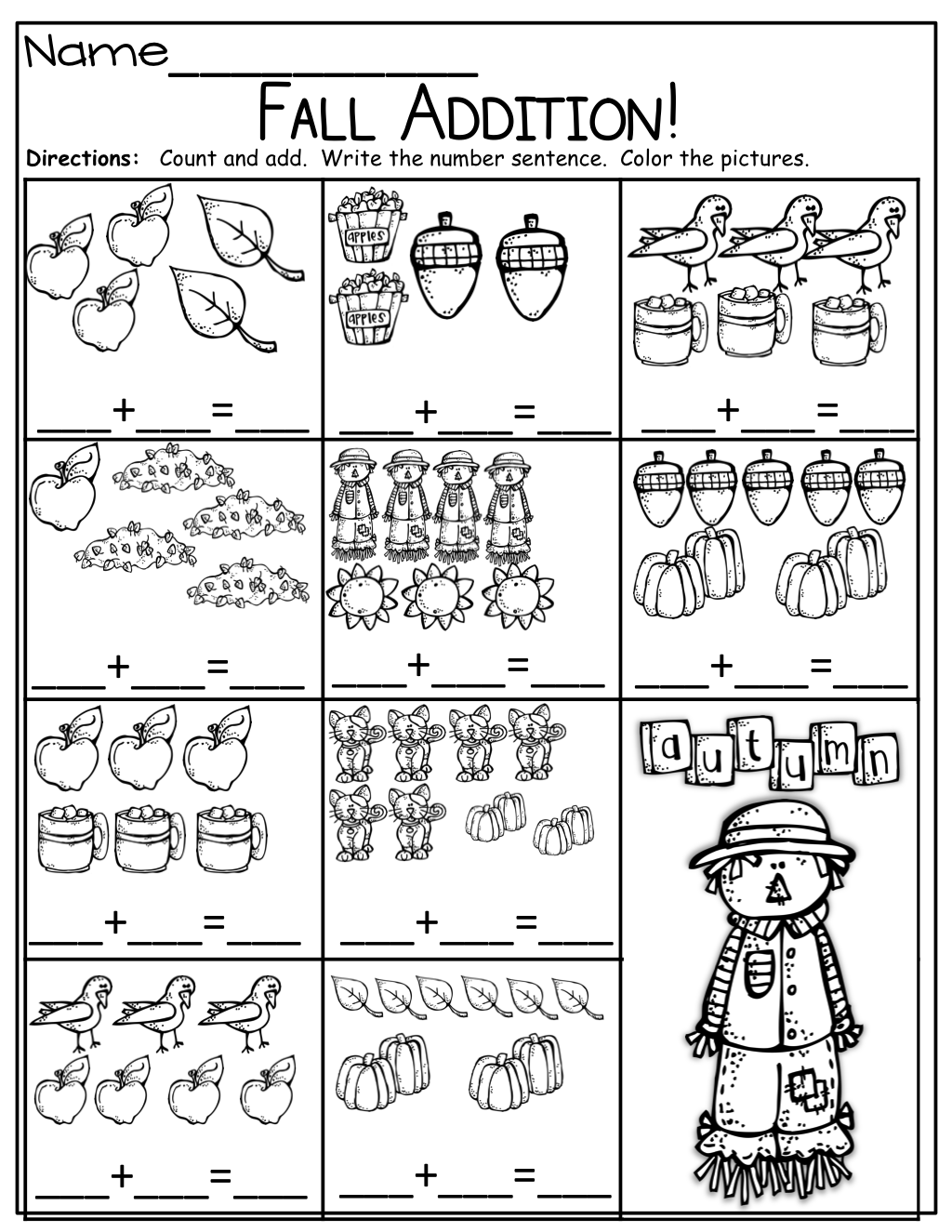 simple addition sentences for fall kinderland collaborative kindergarten math worksheets. Black Bedroom Furniture Sets. Home Design Ideas