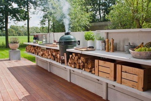 fabulous outdoor kitchen. this is my dream BBQ set up for Chris. I hope that green egg has a rotisserie!
