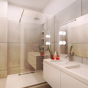 amenagement d 39 une salle de bain blanc et creme sdb pinterest salle de bain blanche salle. Black Bedroom Furniture Sets. Home Design Ideas