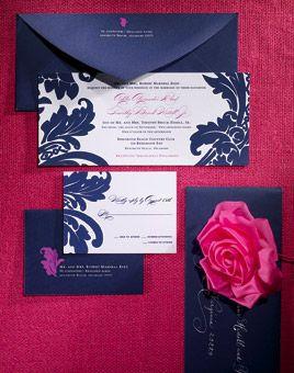 Invitaciones de boda de color azul Turquí con fucsia. #Bodas