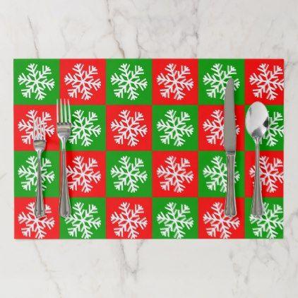 Christmas Snowflakes Pattern Placemat - merry christmas diy xmas