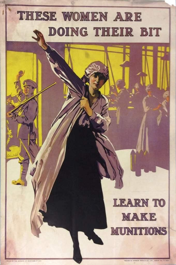 Poster showing female munitions workers: 'These Women Are ...