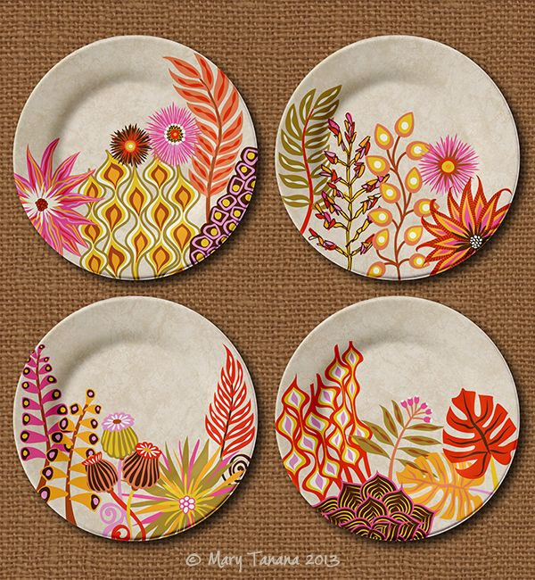 Eclectic Gypsyland plate designs by Mary Tanana © 2013 #potterypaintingdesigns