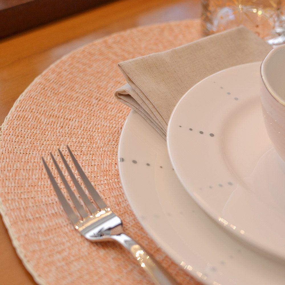 35 Lugar Americano Redondo Fibra Natural Bicolor Rosa E Off White 38cm Lugar Americano Cachepot Ceramica Fibra Natural