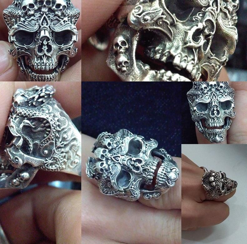 Unique piece of skull art. Highly detailing an intricate, hand-engraved filigree design makes a strong presence when worn in public. It is one of the most exceptional Skull Jewelry pieces we have to offer. The dimensional pendant is crafted in high quality 925 Sterling Silver. Type: Men's Ring Material: 925 Sterling Silver Size: Adjustable Exclusively available on Zapps Returns - If you don't love it, we'll refund you.