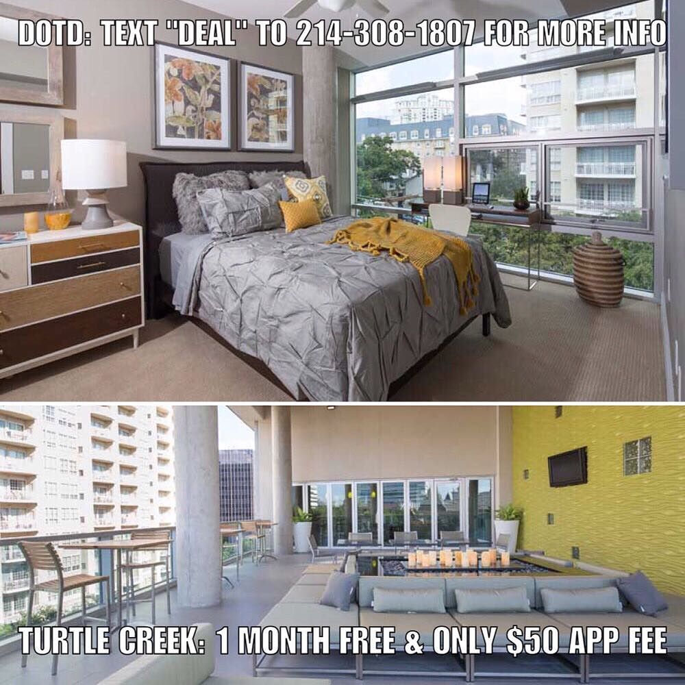 """Deal of the Day: TURTLE CREEK: 1 MONTH FREE & only $50 application fee. Apartment is paying 150% of 1 months rent as commission half of which is urs as a thank you for using our services.  NOTES: Rooftop Terrace Lounge w/Catering Kitchen & Bar. Social Events. Dog Park w/Grooming Station. Two-Story Fitness Center with Fitness Classes Every Week.  Don't forget to put down """"Help Urself Leasing"""" when filling out ur lease application to get back 50% of the commission we earn from ur referral…"""