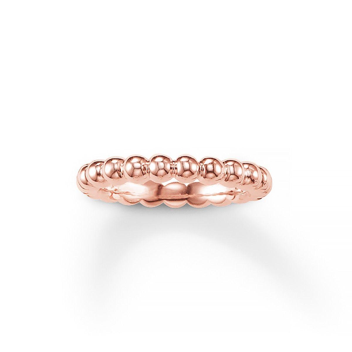 Thomas Sabo Thomas Sabo Designers Rose Gold Plated Ring Beaded Rings Rose Gold