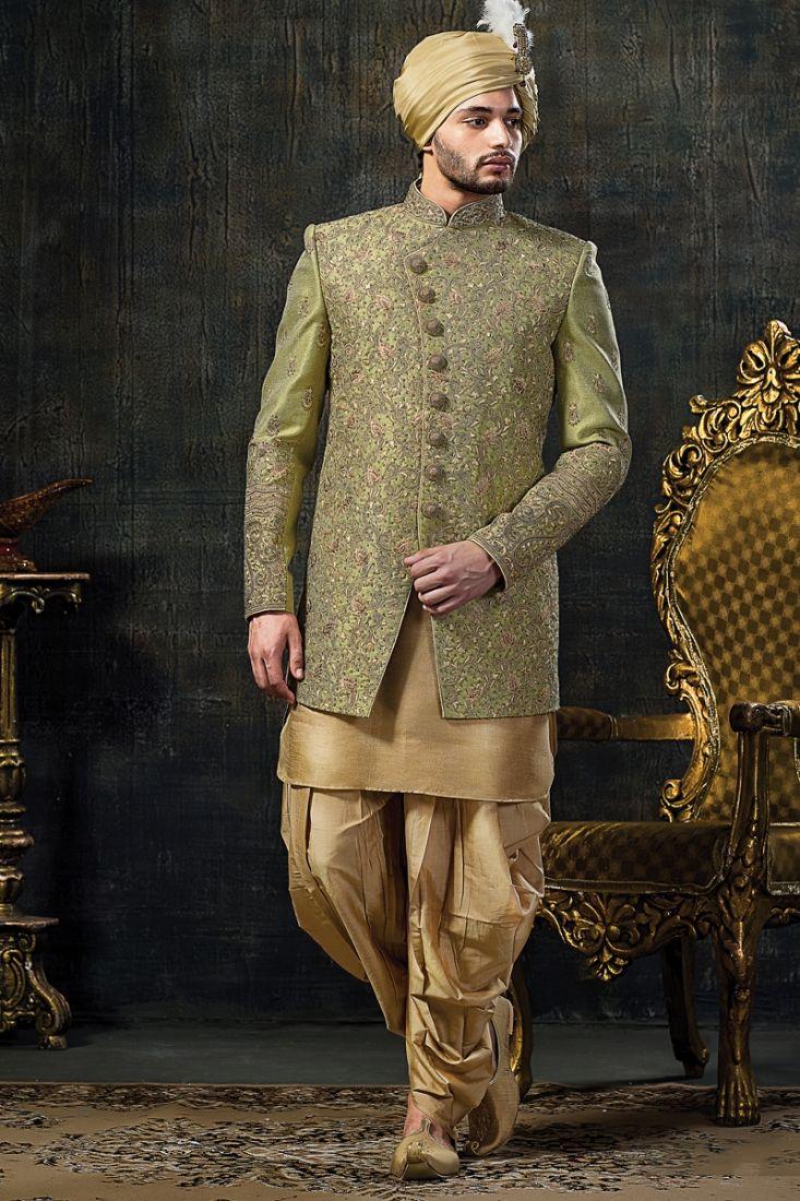 Dashing groom indo western sherwani in sea green colour kurta