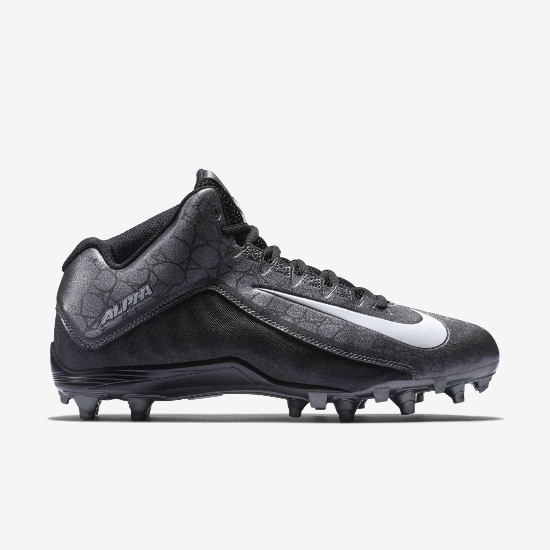 18cbaff2153 Nike Alpha Strike 3 4 2 TD Men s Football Cleats 725227-010 Sz 10 Black  Grey Wht