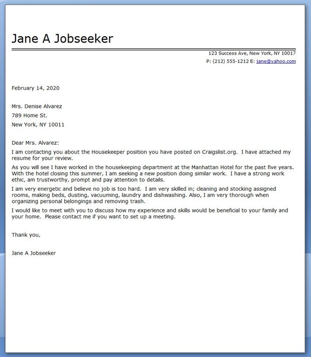 Housekeeper Cover Letter Sample Creative Resume Design Templates