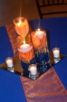 Centerpieces Orange And Navy Blue Blue Wedding Centerpieces