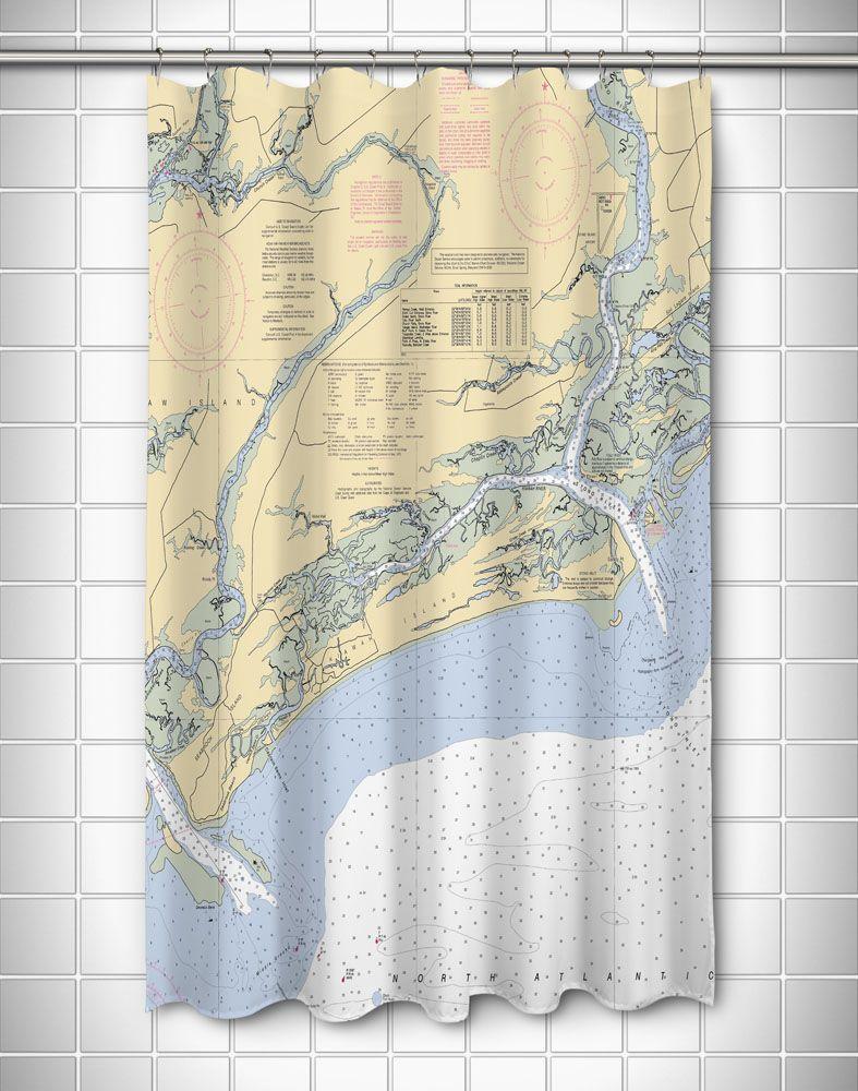 Sc Kiawah Island Sc Nautical Chart Shower Curtain Pinterest