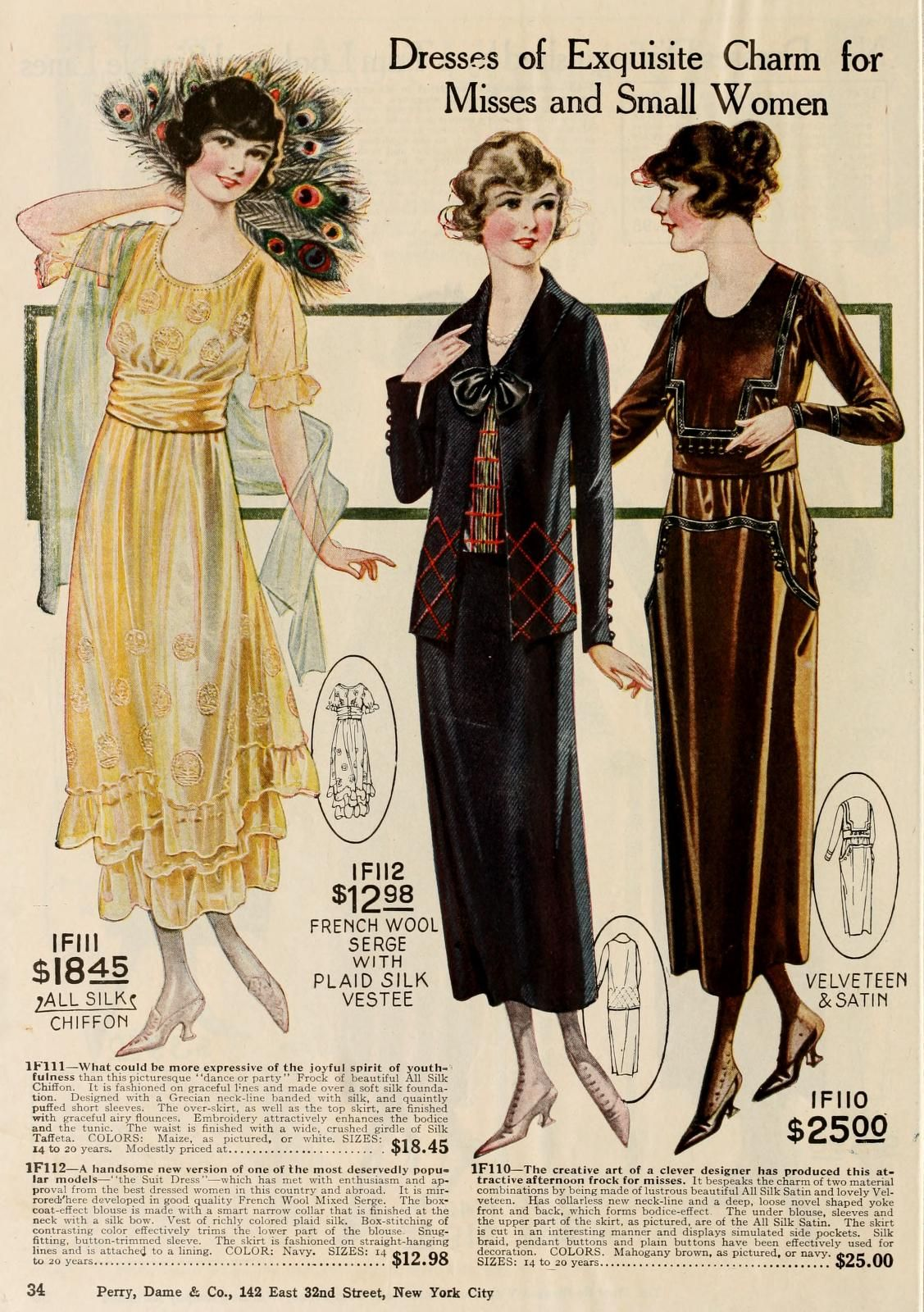 Dresses For Young Or Pee Women By Perry Dame Co American New York Fall Winter 1919 1920