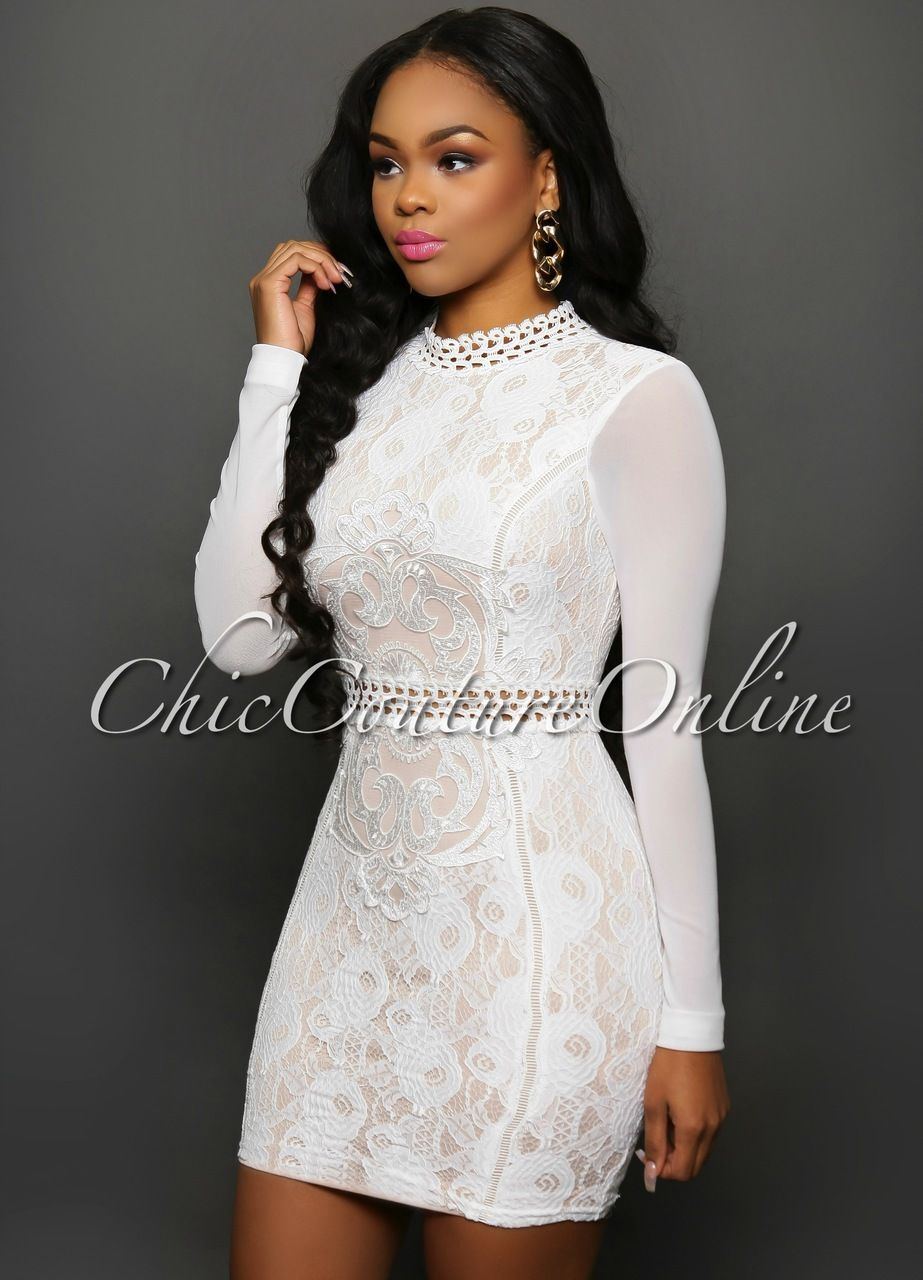 Chic Couture Online - Windsor White Lace Blush Mesh Sleeves Dress ...
