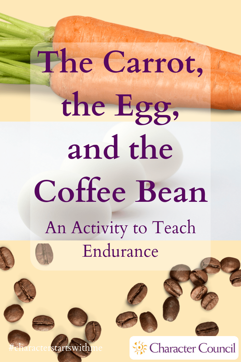A Carrot And Egg And A Coffee Bean Walk Into A Cafeteria And Right Into A Pot Of Boiling Water Check Out One Activities Coffee Beans Character Education