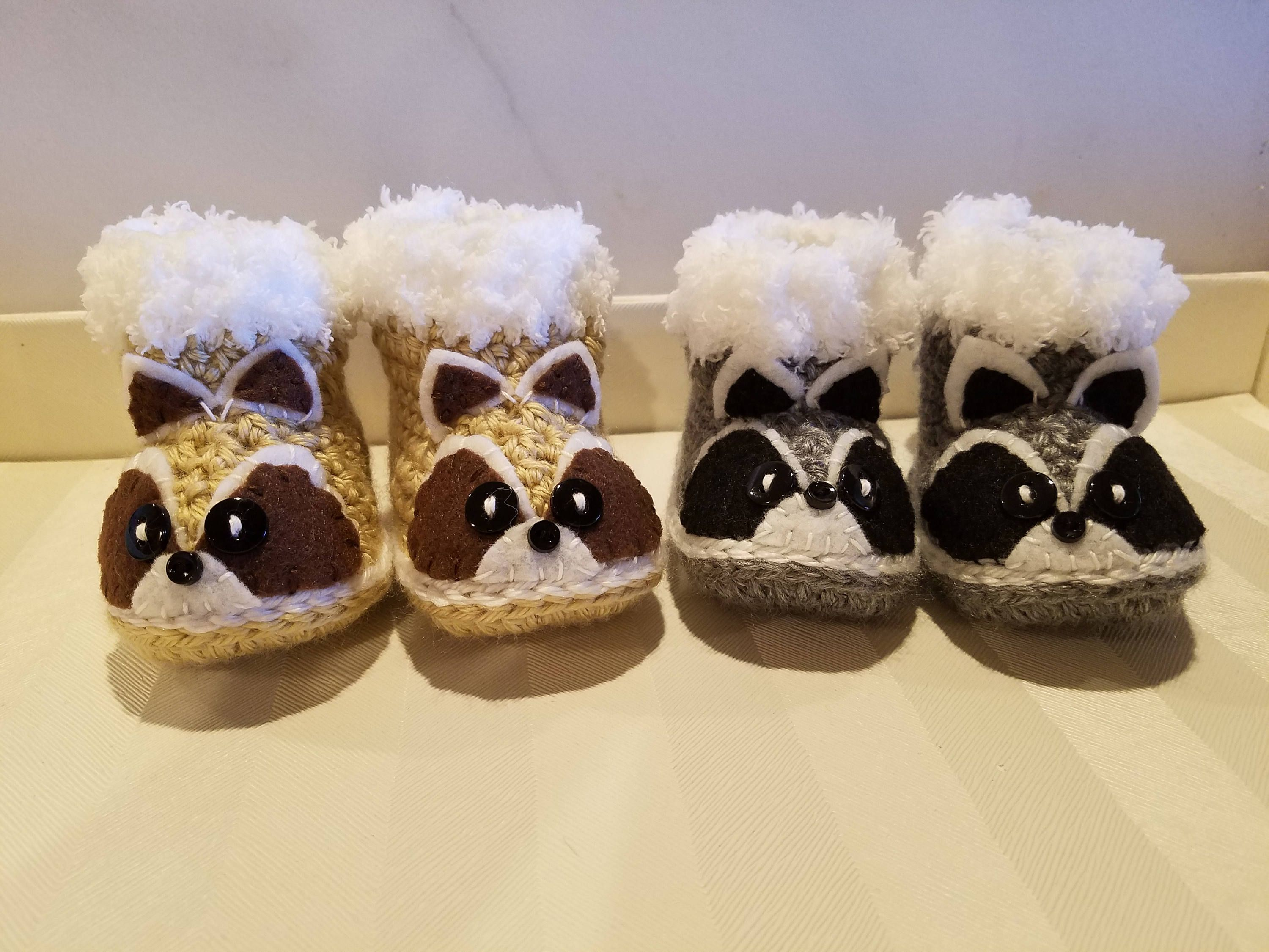 86966f028be74 Raccoon Baby Slippers/Crochet Raccoon Slippers/Baby Shoes/Baby ...