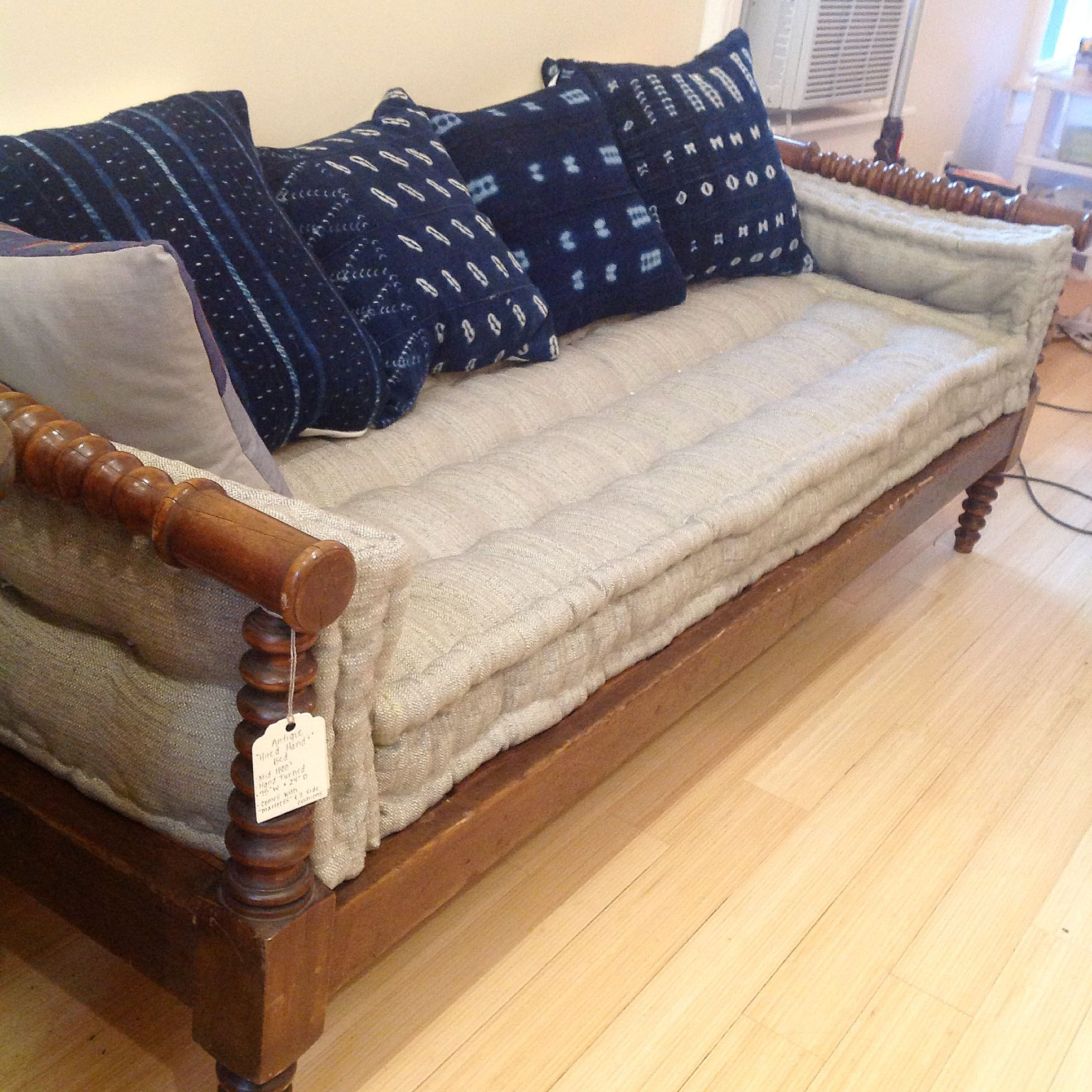 Antique Daybed With Handmade French Mattress Cushion