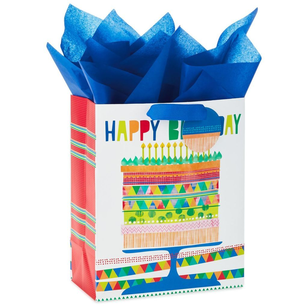 happy birthday cake large gift bag with tag and tissue 13