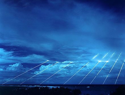 Testing of the Peacekeeper re-entry vehicles at the Kwajalein Atoll. All eight fired from only one missile. Each line, if its warhead were live, represents the potential explosive power of about 300 kilotons of TNT, about nineteen times larger than the detonation of the atomic bomb in Hiroshima.